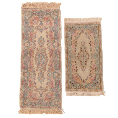 Hand-Knotted Persian Kerman Carpet Runner and Accent Rug
