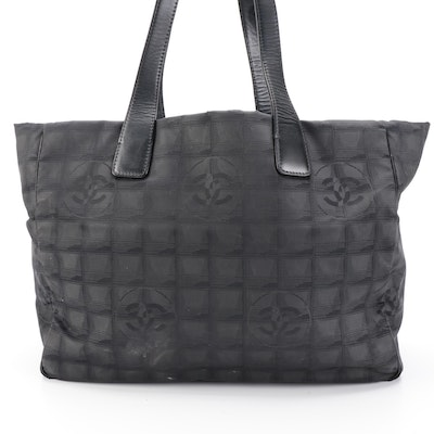 Chanel Tote Bag in Black Nylon with Leather Trim