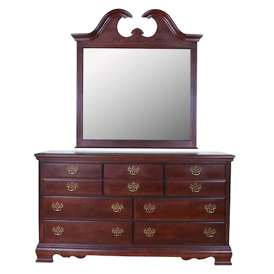 American Drew Cherry-Stained Dresser with Mirror, Late 20th Century