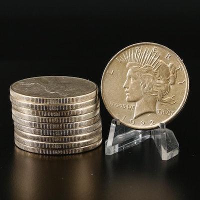 Ten 1922 Silver Peace Dollars