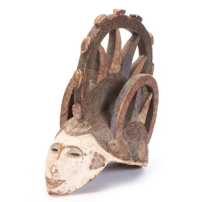 "Igbo ""Agbogho Mmwo"" Style Polychrome Wooden Mask, Nigeria"