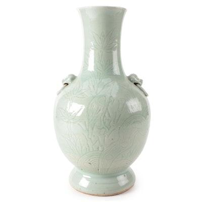 Japanese Celadon Glazed Stoneware Vase, Late 20th Century