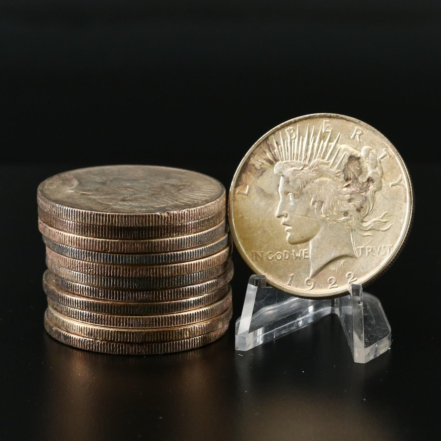 1922-P-S-D Peace Silver Dollars