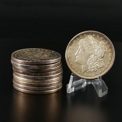 Toned 1921-P and 1921-D Morgan Silver Dollars