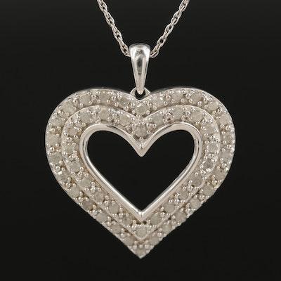 Sterling 1.02 CTW Diamond Heart Pendant Necklace