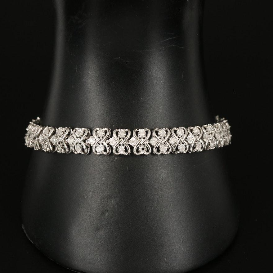 Sterling Silver 1.02 CTW Diamond Illusion Set Heart Link Bracelet