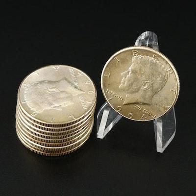 10 Kennedy Silver Half Dollars, 1964