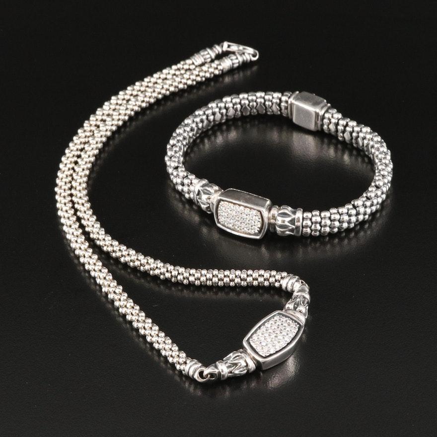 Caviar by Lagos Sterling and 18K 1.36 CTW Pavé Diamond Bracelet and Necklace