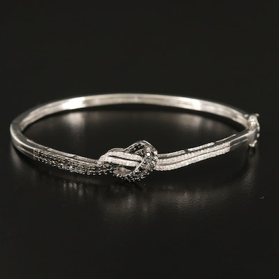 Sterling Silver Diamond Knotted Hinged Bangle