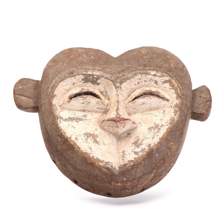 Kwele Inspired Hand-Carved Wood Mask, Central Africa