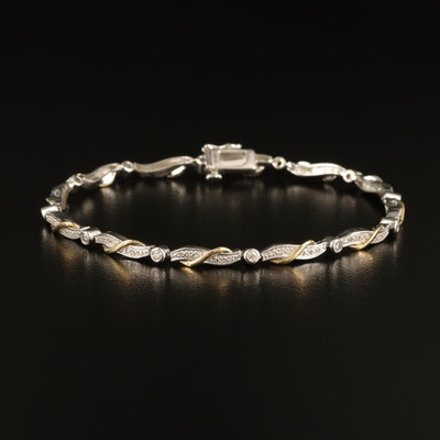 Sterling Silver Diamond Link Bracelet with 10K Accents