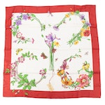 Gucci Floral and Insect Print Red Silk Twill Scarf