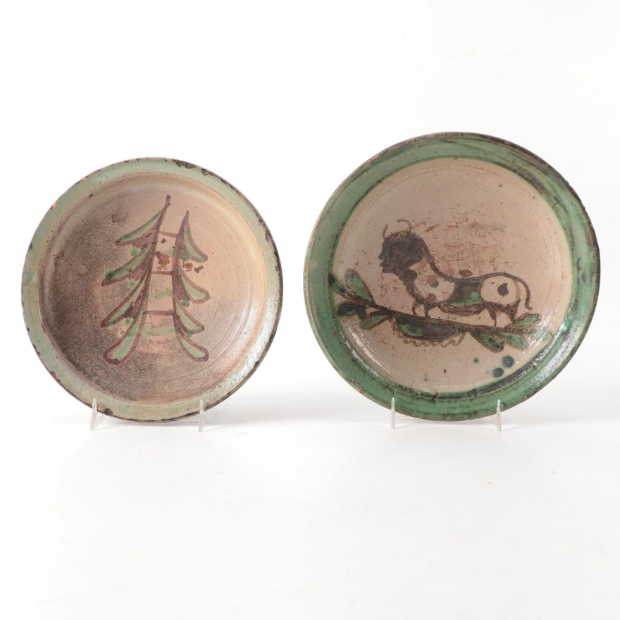 Pair of European Glazed Terracotta Serving Bowls, 18th Century