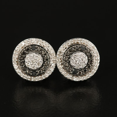 Sterling Silver Diamond Concentric Stud Earrings