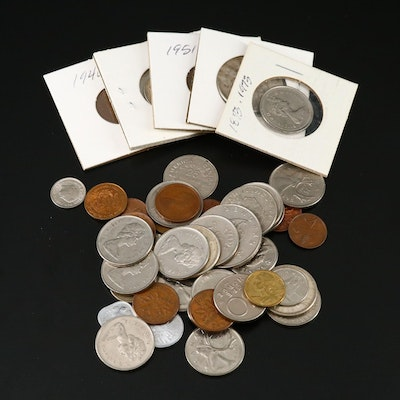 Assorted Foreign Coins Including Silver, Late 20th Century