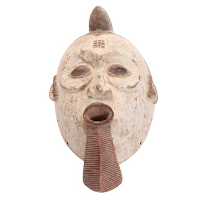West African Inspired Hand-Carved Mask
