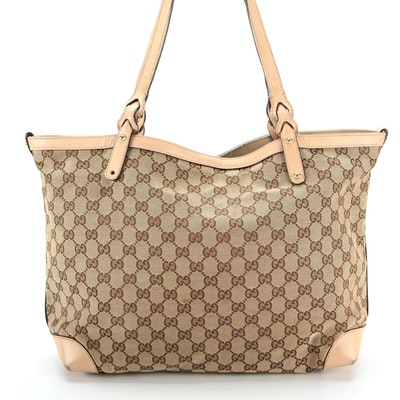 Gucci GG Canvas and Blush Leather Tote