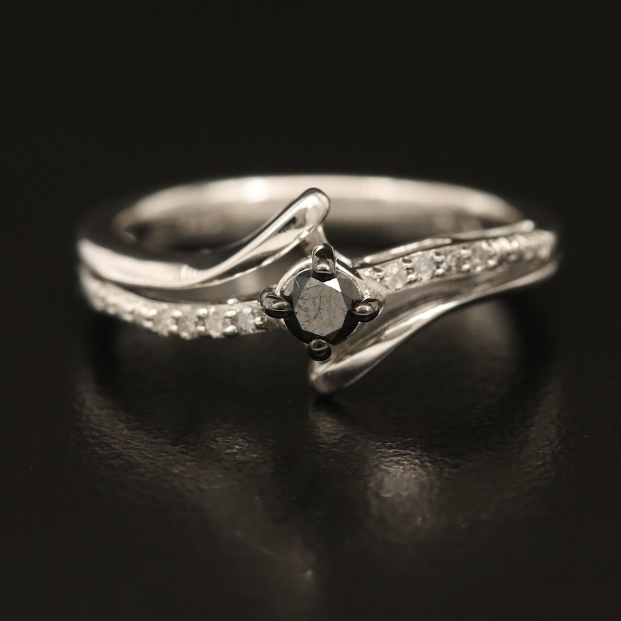 Sterling Diamond Bypass Ring