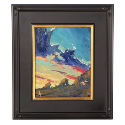 "William Hawkins Landscape Oil Painting ""Phonaktelon,"" 2021"