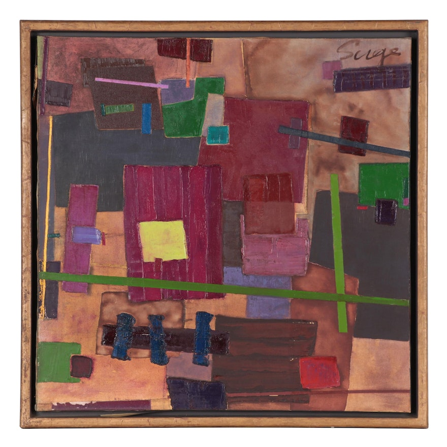 """Walter Sorge Abstract Oil Painting """"Green Center,"""" 1991"""