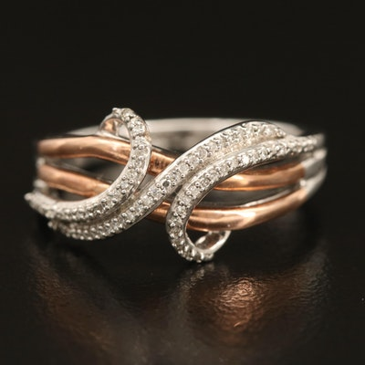 Sterling Diamond Crossover Ring with 10K Accent