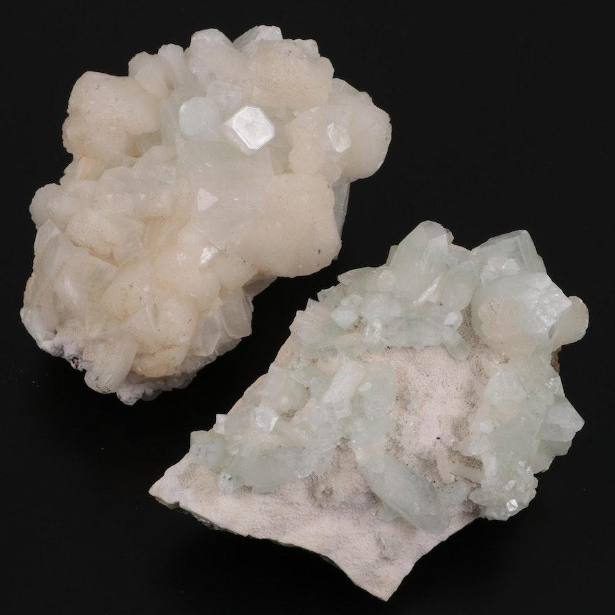Rough Stilbite with Apophyllite Mineral Specimen Clusters