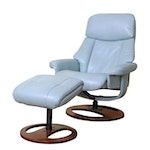 Benchmaster Mid Century Modern Style Faux Leather Swivel Recliner with Ottoman