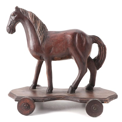 Folk Art Style Hand-Carved Wood Horse Pull Toy, 20th Century