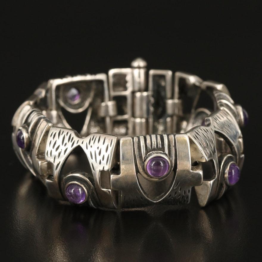 Sterling Amethyst Panel Bracelet