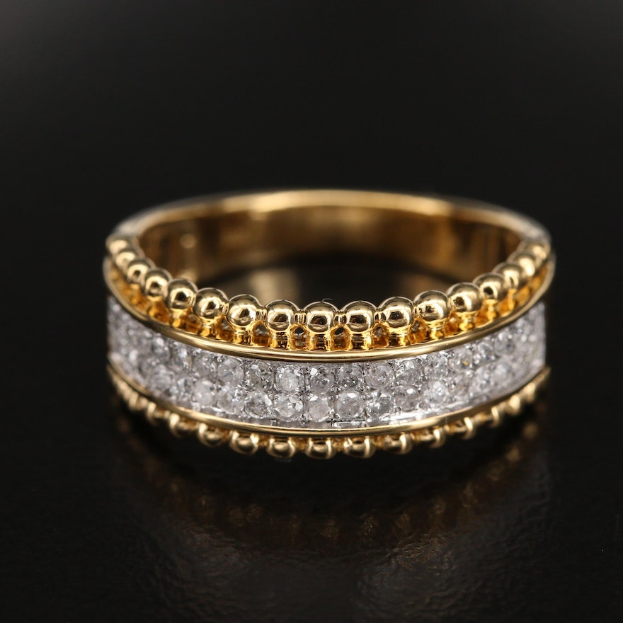 Sterling Diamond Double Row Ring with Bead Accents