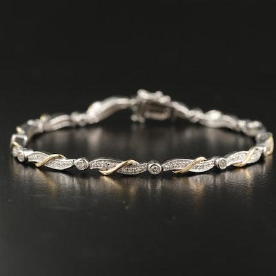 Sterling Silver Diamond Bracelet with 10K Accents
