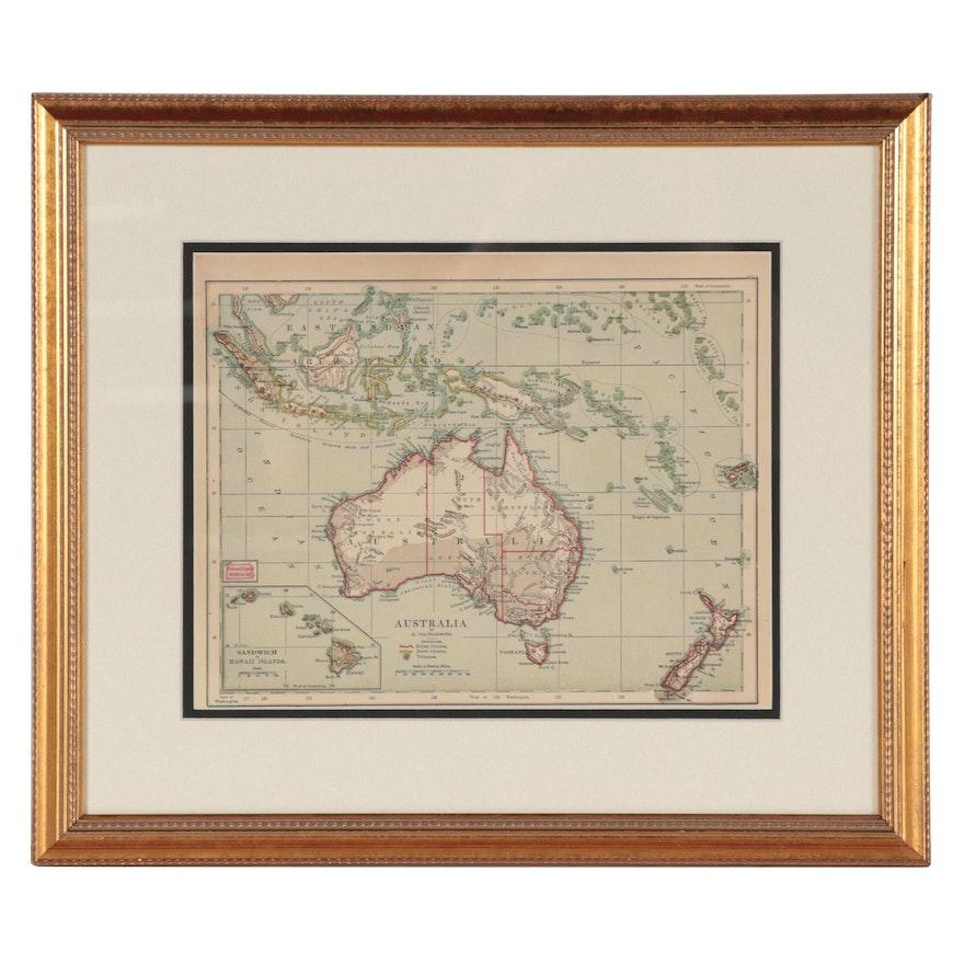 """Adolph von Steinwehr Wax Engraving Map """"Australia"""""""