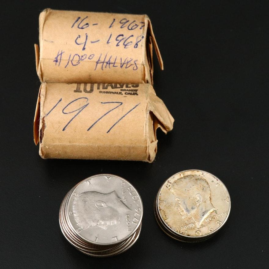 2 Rolls of Clad Kennedy Half Dollars and 17 Assorted Kennedy Half Dollars