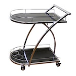 Chrome and Black Glass Rolling Bar Cart