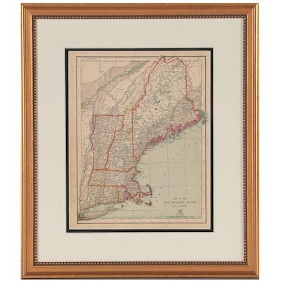 """Adolph von Steinwehr Wax Engraving """"Map of The New England States"""""""