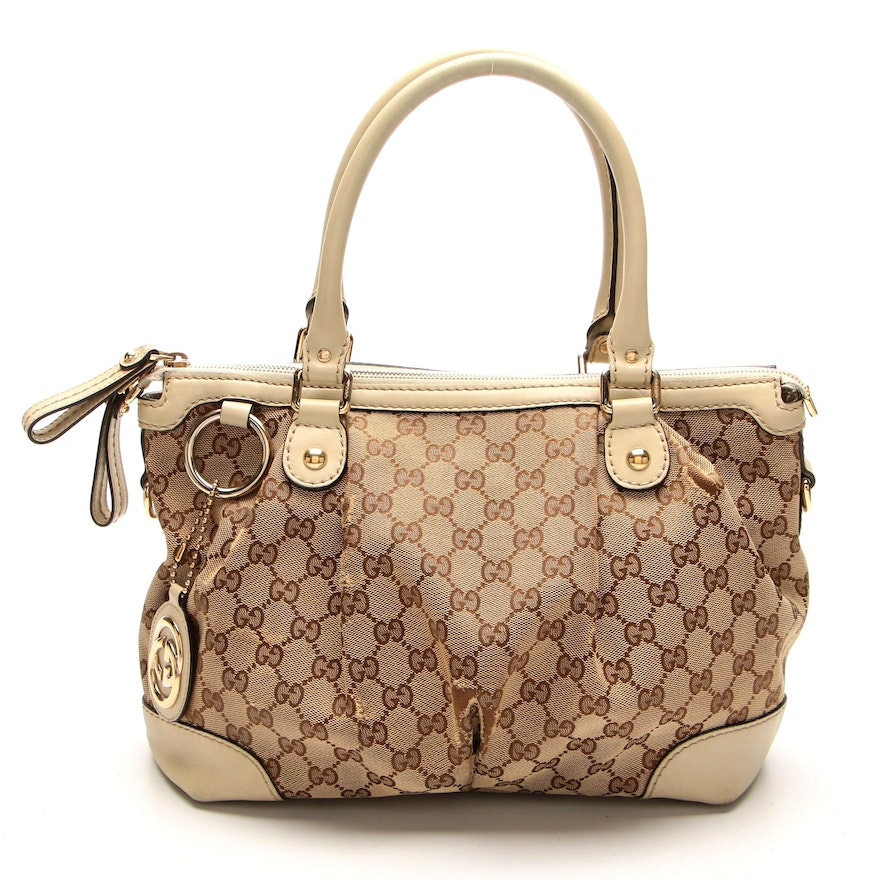 Gucci Sookee GG Canvas and Leather Two-Way Bag