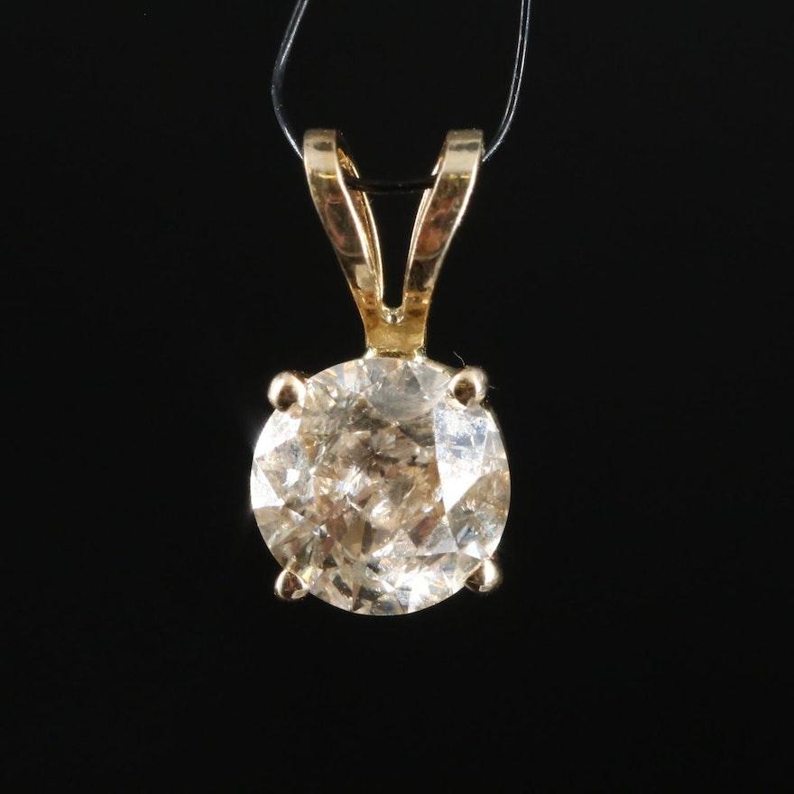 14K 0.50 CT Diamond Solitaire Pendant