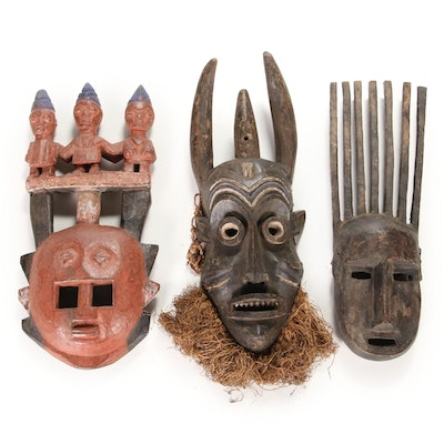 West and Central African Style Carved Wood Mask