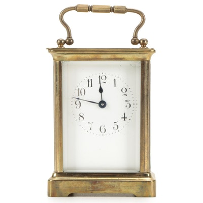 French Brass Carriage Clock,  Early 20th Century