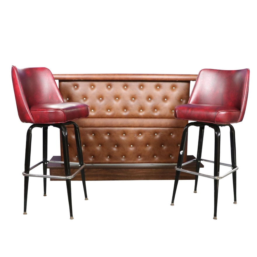 Pair of Carroll Chair Co. Swivel Bar Stools with Vinyl Upholstered Bar Cabinet