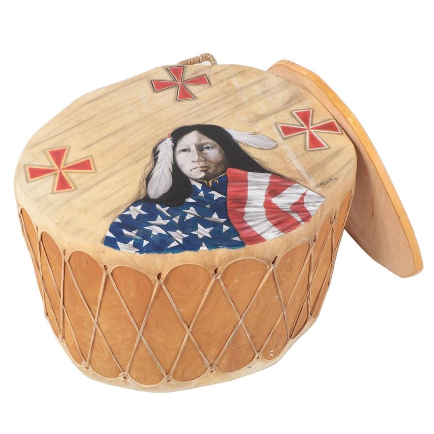 """Phoenix Native American Choctaw """"He Takes The Flag"""" Painted Drum Table"""