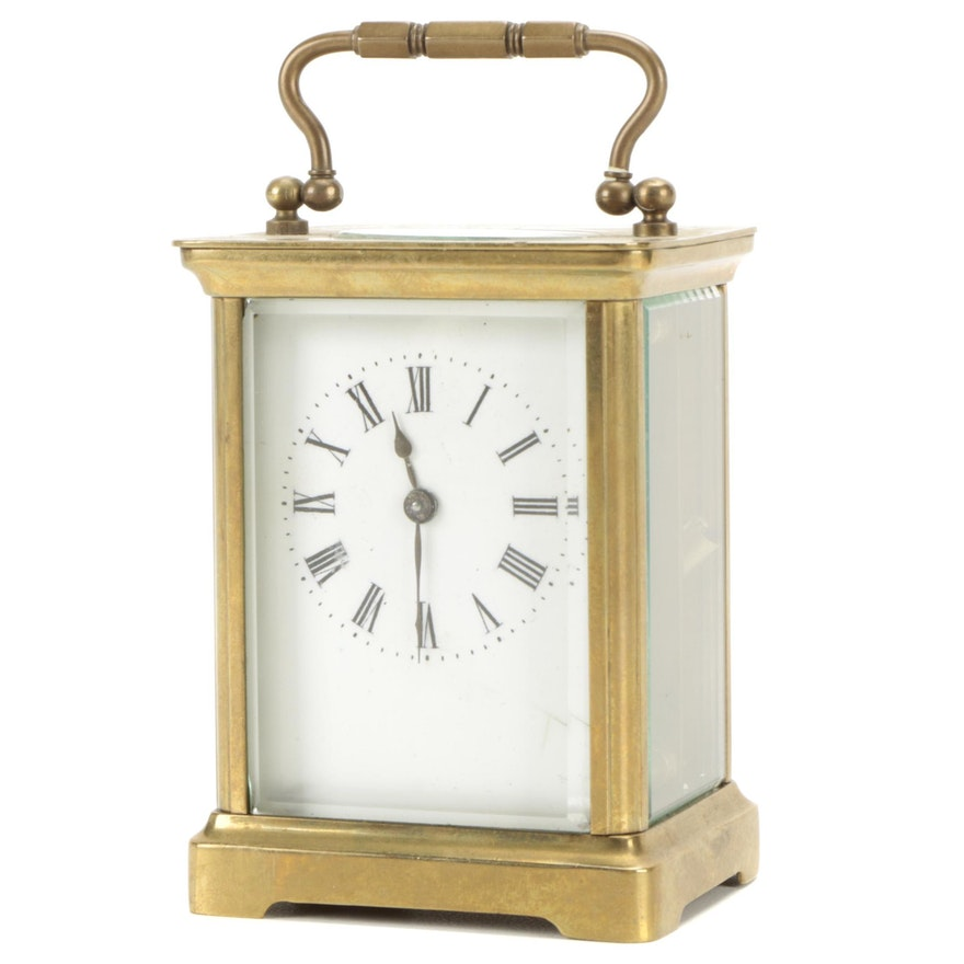 French Brass Corniche Carriage Clock, Early 20th Century