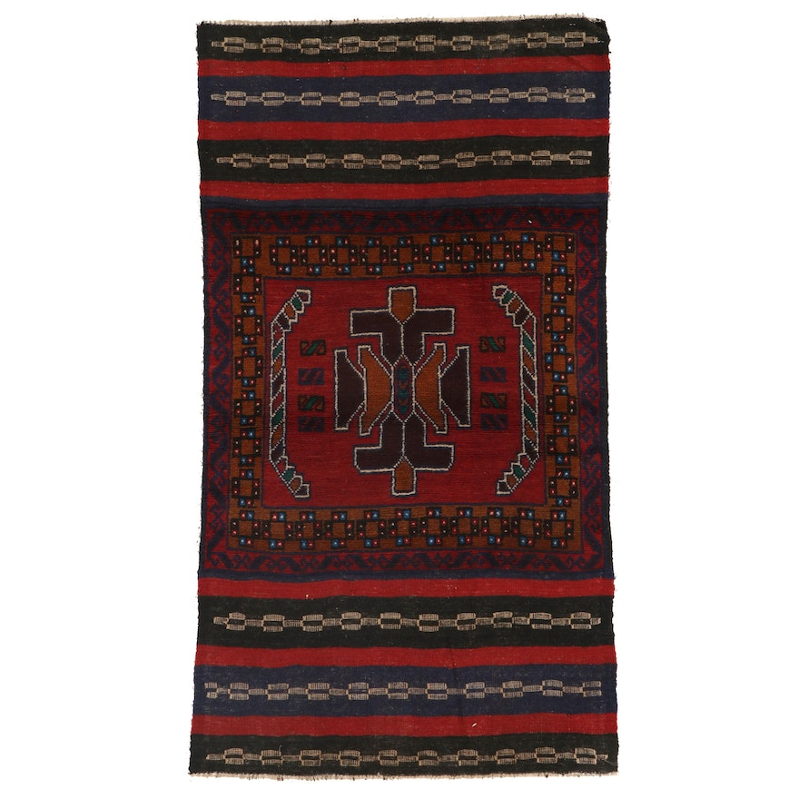 2'10 x 4'11 Hand-Knotted Afghan Baluch Accent Rug