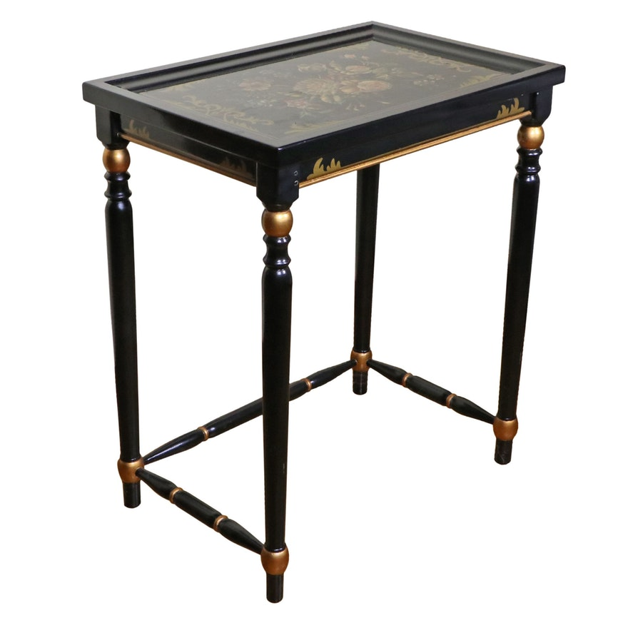 Ebonized and Paint Decorated Side Table