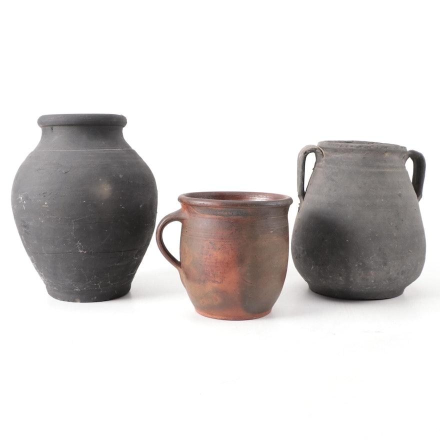 Primitive Ceramic Jug Vases and Planter
