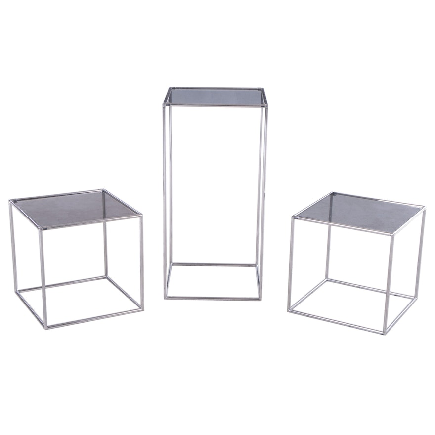 Modern Chrome and Smoked Glass End Tables and Pedestal