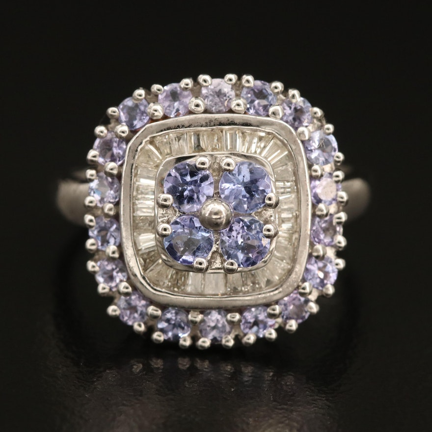 Sterling Tanzanite and Double Halo Ring