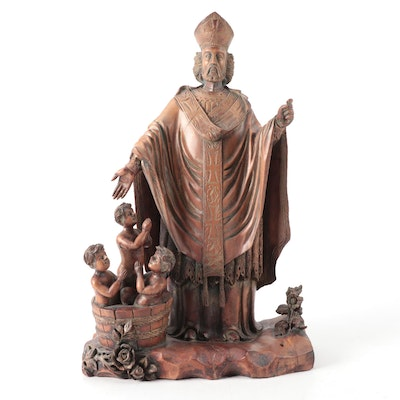 St. Nicholas of Myra and Resurrected Children Carved Wood Figural Group