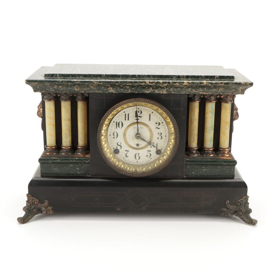 Seth Thomas Adamantine and Brass Mantel Clock, Late 19th Century