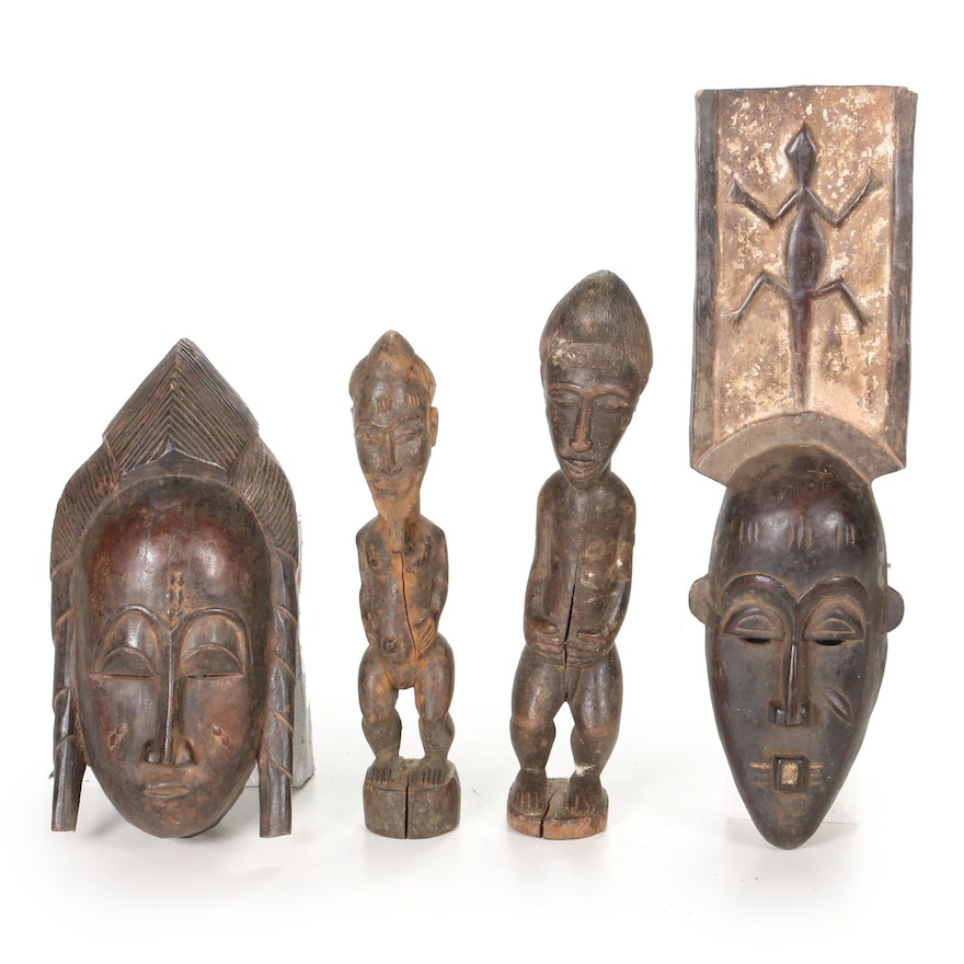 Baule-Yaure Style Carved Wood Mask and Figures, Côte d'Ivoire